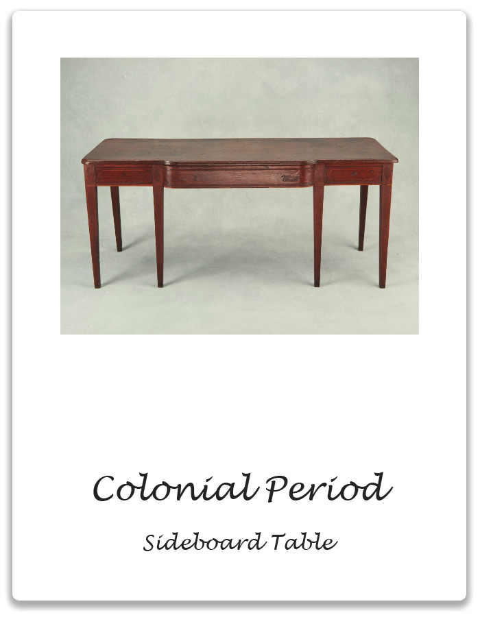 Colonial period sideboard table xena barlow for Table design history